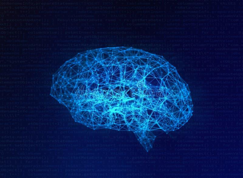 在蓝色背景,人工智能的模糊的人脑 皇族释放例证