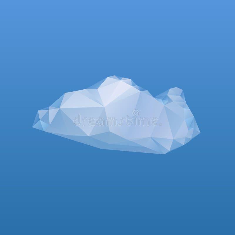 在蓝色背景,传染媒介艺术的低多云彩 免版税库存照片