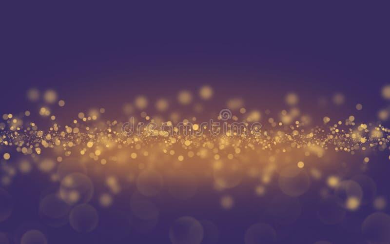 在蓝色背景,假日的圣诞节金黄轻的亮光微粒bokeh 库存照片