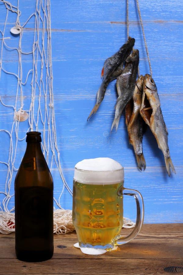 在蓝色背景,干rudd鱼的啤酒 库存图片