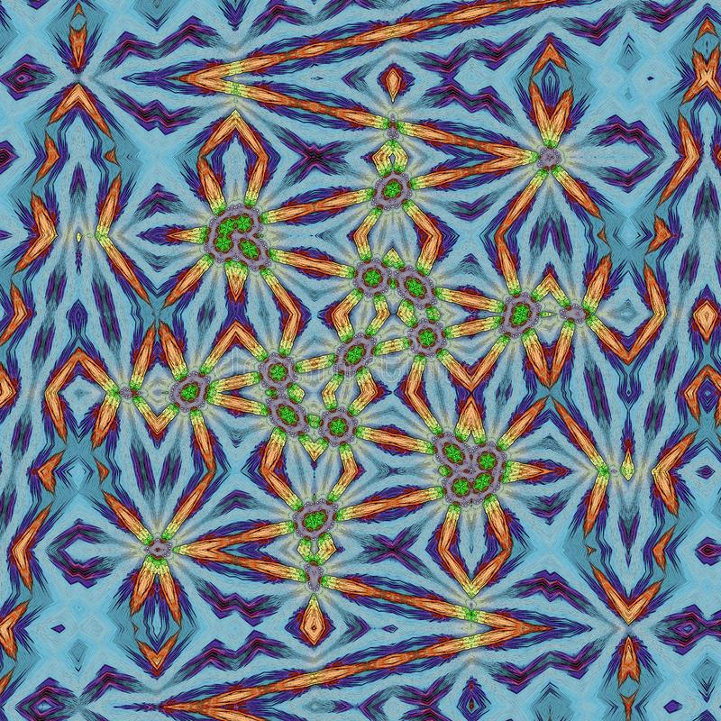 在蓝色背景,抽象独角兽sujet的构想的明亮的之字形线 库存例证
