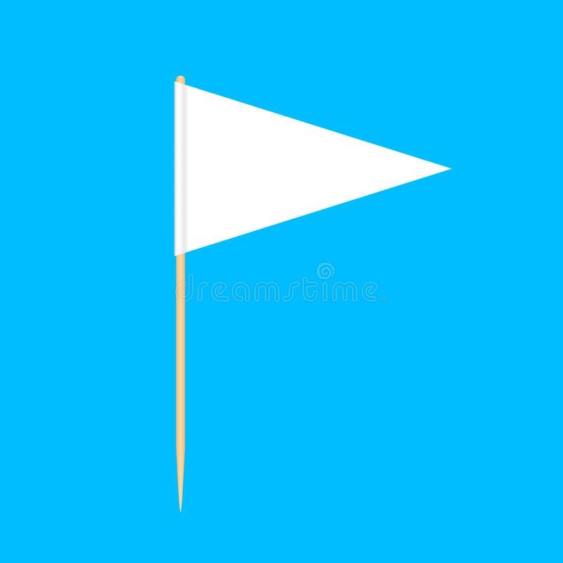 在蓝色背景,牙签旗子三角空白或者白色隔绝的木牙签旗子三角缩样,牙签别针 皇族释放例证