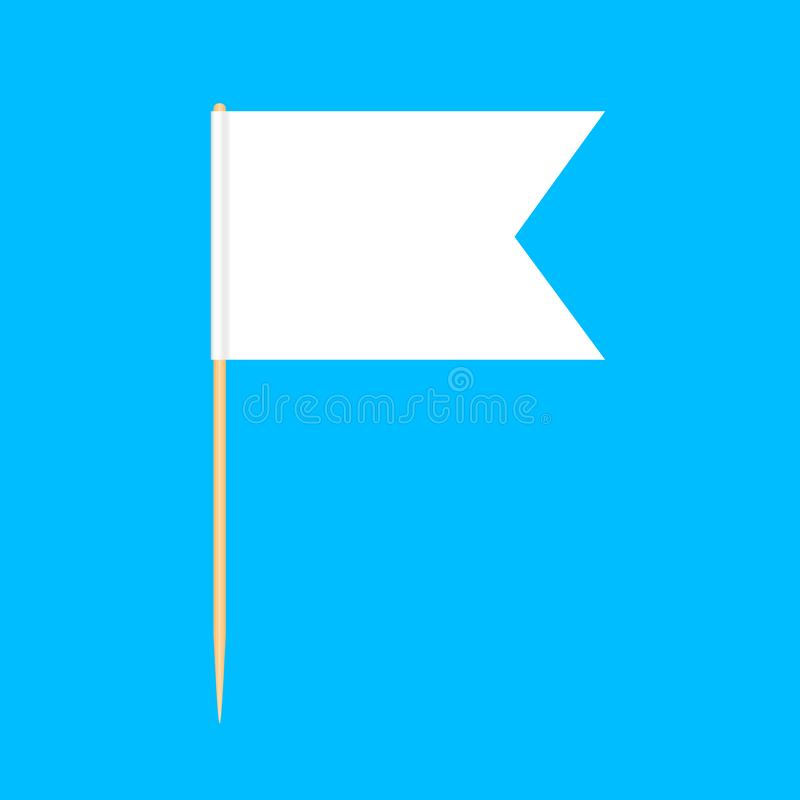 在蓝色背景,牙签旗子长方形空白或者白色隔绝的木牙签旗子缩样,牙签别针象 向量例证