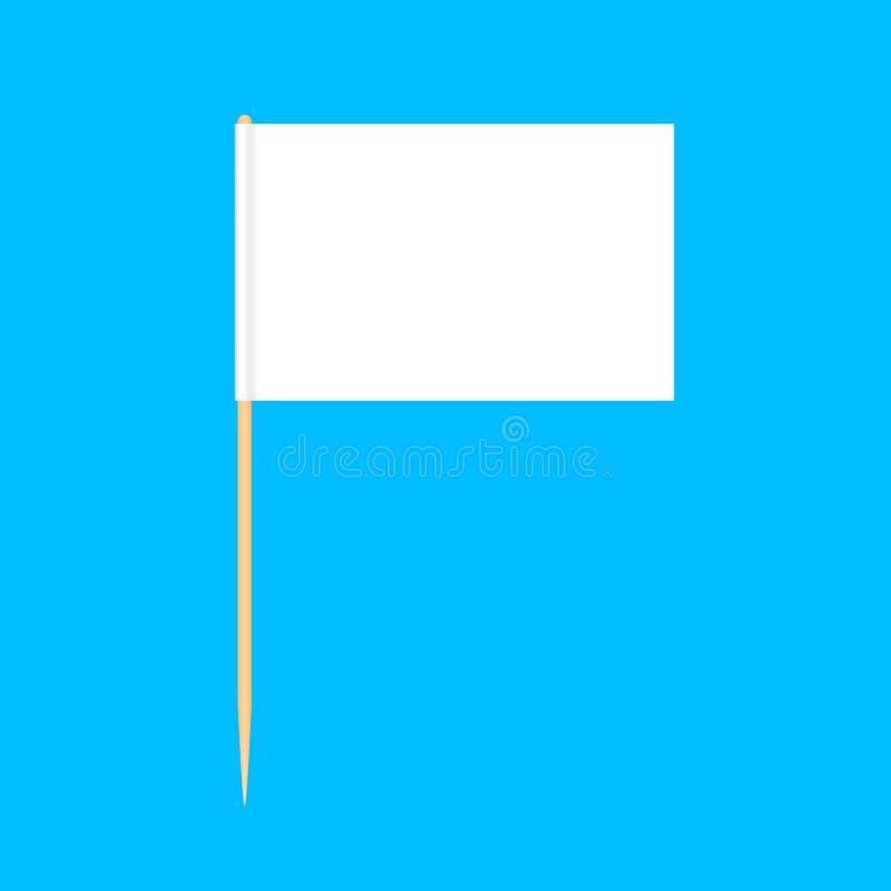 在蓝色背景,牙签旗子长方形空白或者白色隔绝的木牙签旗子缩样,牙签别针象 皇族释放例证