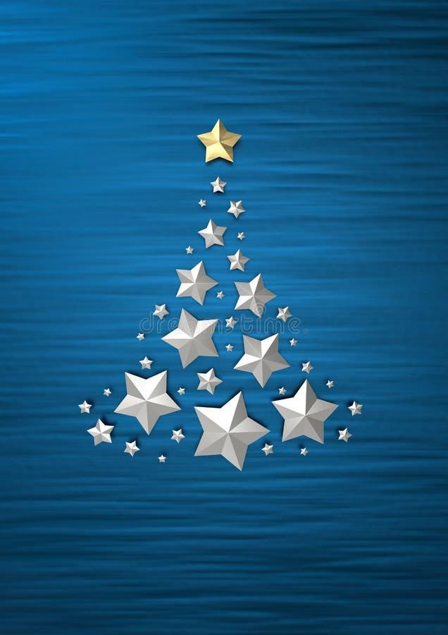 在蓝色背景3D的银色圣诞树回报 向量例证