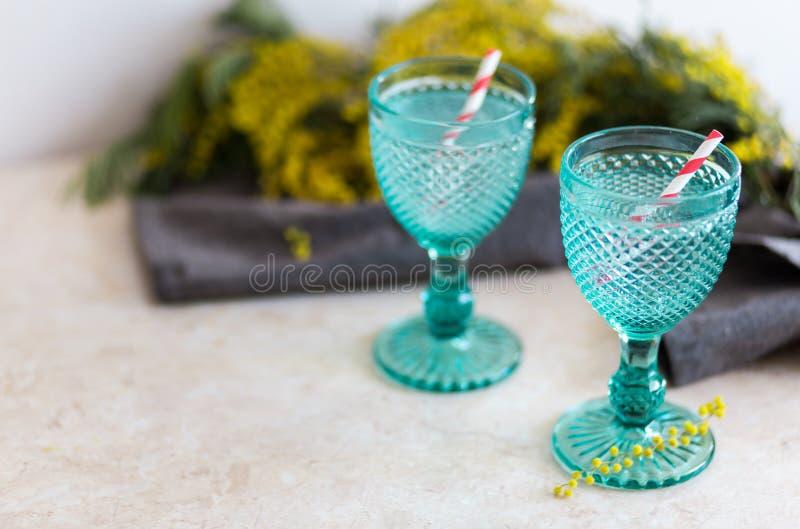 在蓝色葡萄酒觚的Refhesing饮料在与srping的花的白色背景 库存照片