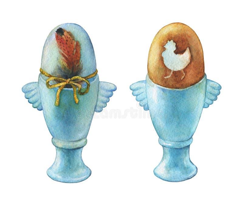 在蓝色蛋杯持有人的色的煮沸的复活节彩蛋 在白色背景隔绝的手画水彩例证 库存例证