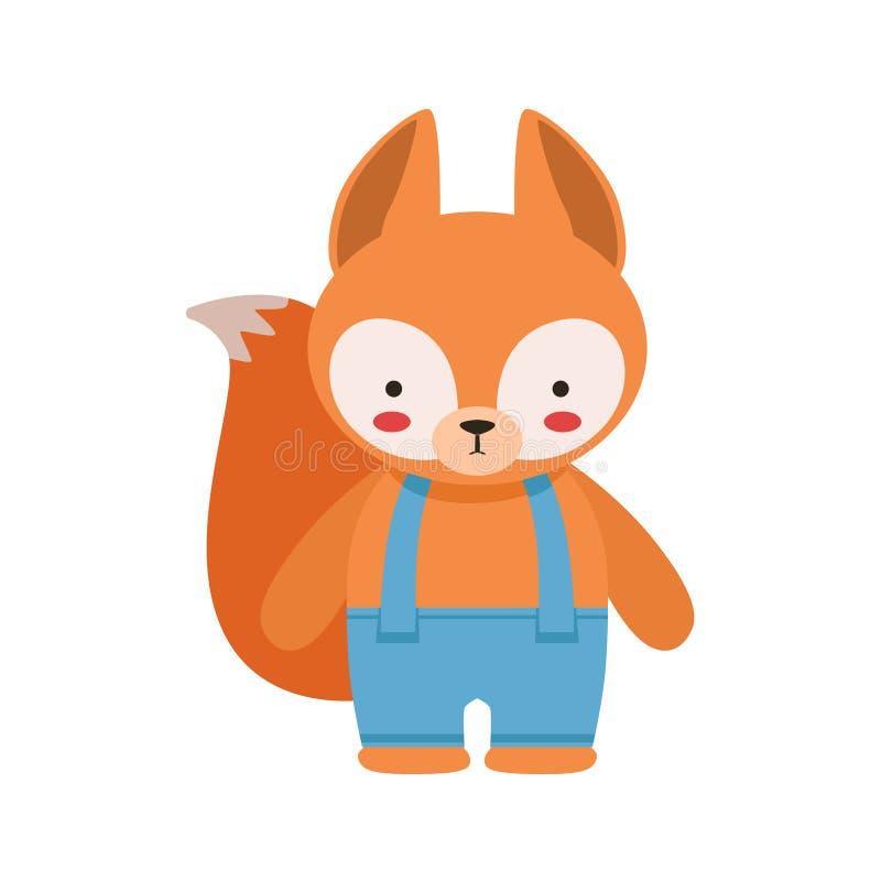 在蓝色裤子的Fox有作为小男孩穿戴的悬挂装置逗人喜爱的玩具小动物的 皇族释放例证