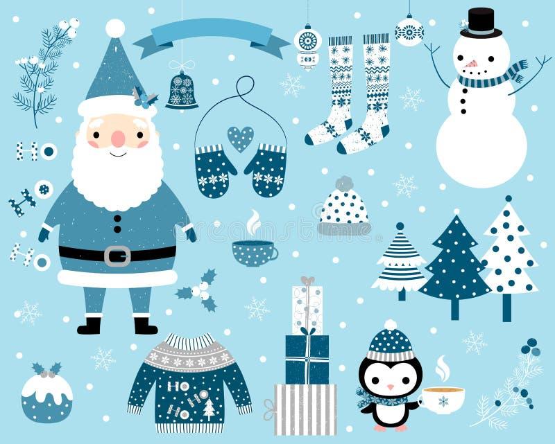 在蓝色设置的圣诞节传染媒介和白色与圣诞老人项目、雪人、企鹅和冬季衣服和元素 皇族释放例证