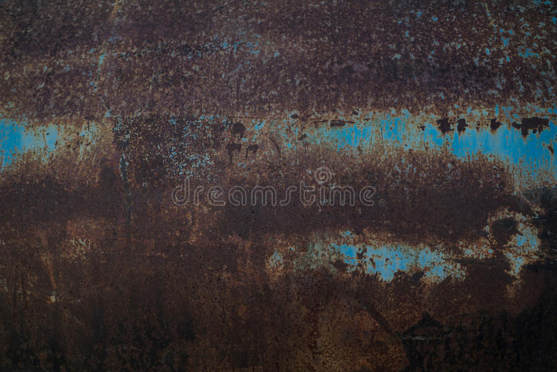 在蓝色钢的铁锈 库存照片
