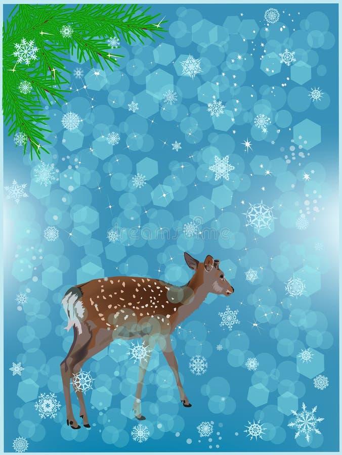 在蓝色降雪下的小鹿 皇族释放例证