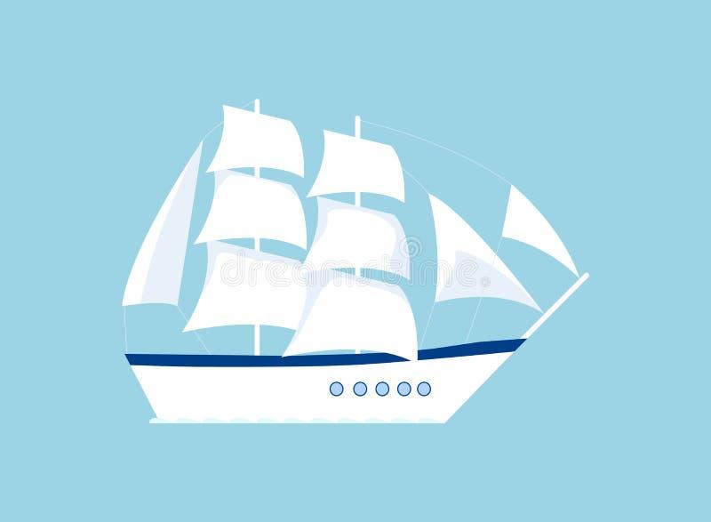 在蓝色隔绝的游艇象 向量例证