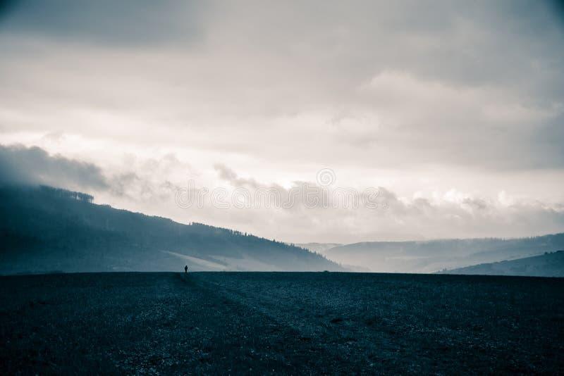 在蓝色音调的一个美好,抽象单色山风景 免版税库存图片