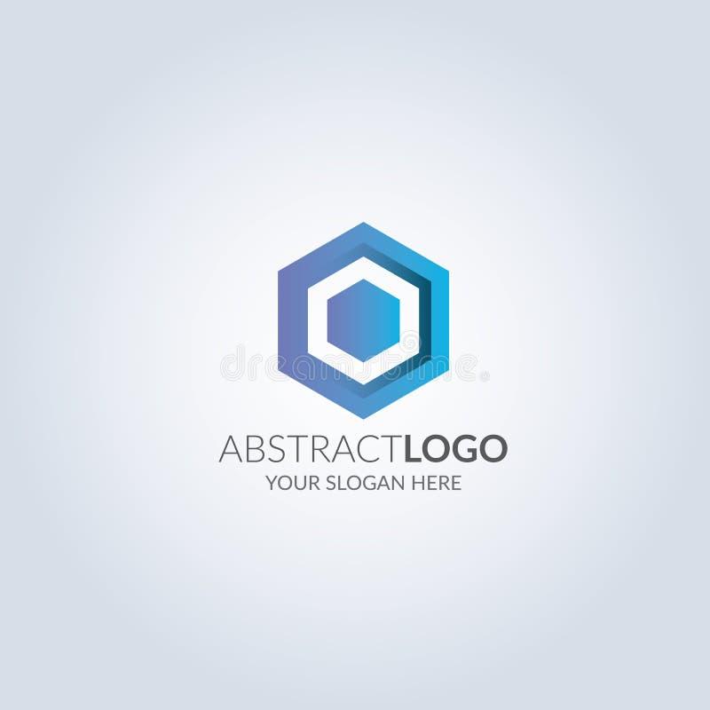 在蓝色颜色梯度颜色的抽象六角形标志商标 设计火笔记本模板写您 库存例证