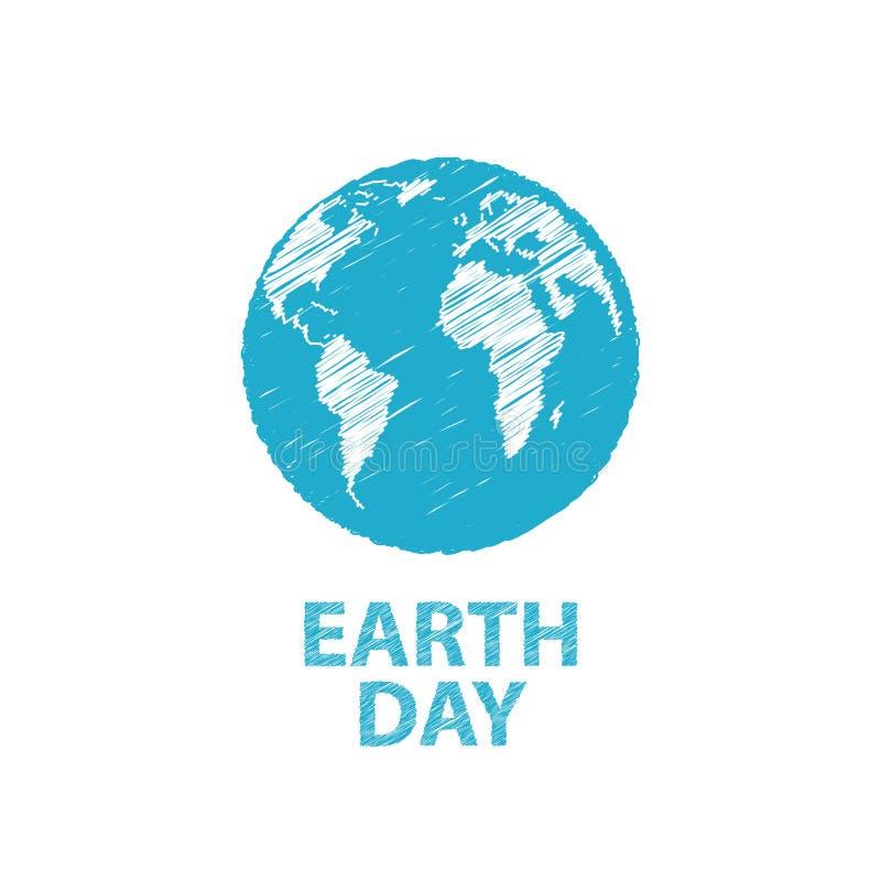 在蓝色颜色的世界地球日 也corel凹道例证向量 E-F的铅笔图 库存照片