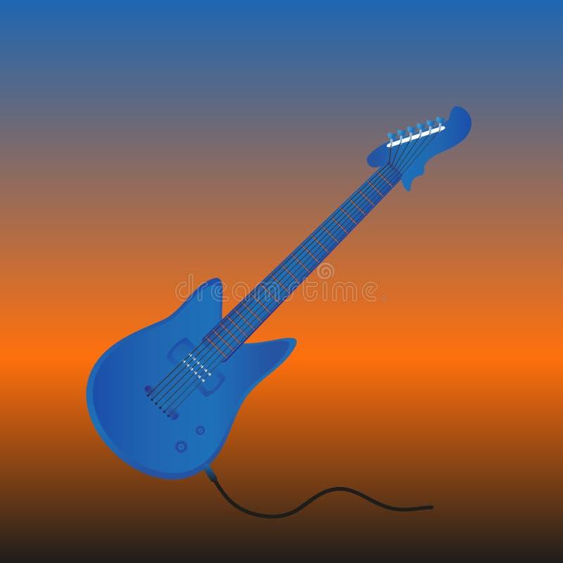 在蓝色颜色的凉快的电吉他 在动态背景 也corel凹道例证向量 向量例证