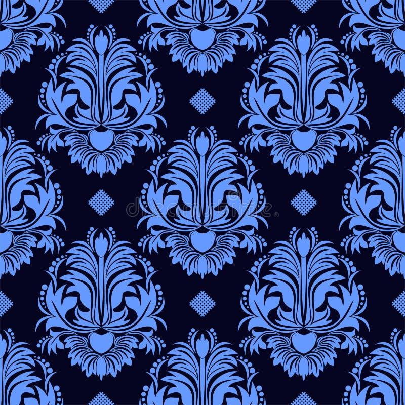 在蓝色颜色的无缝的花卉锦缎墙纸 皇族释放例证