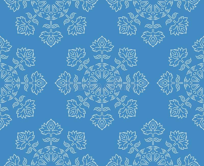 在蓝色,传染媒介例证的幻想手拉的种族样式白色花卉雪花无缝的样式 皇族释放例证