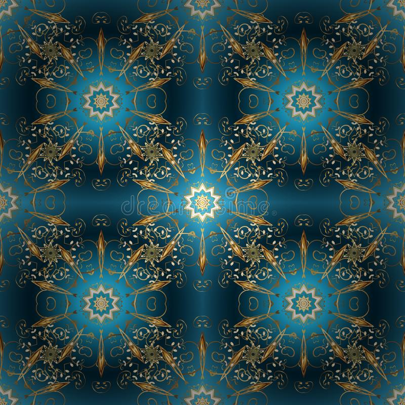 在蓝色,米黄和棕色颜色的金黄元素 皇族释放例证