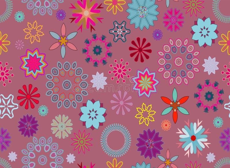 在蓝色,紫色和桃红色的花卉样式瓦片在桃红色背景 皇族释放例证