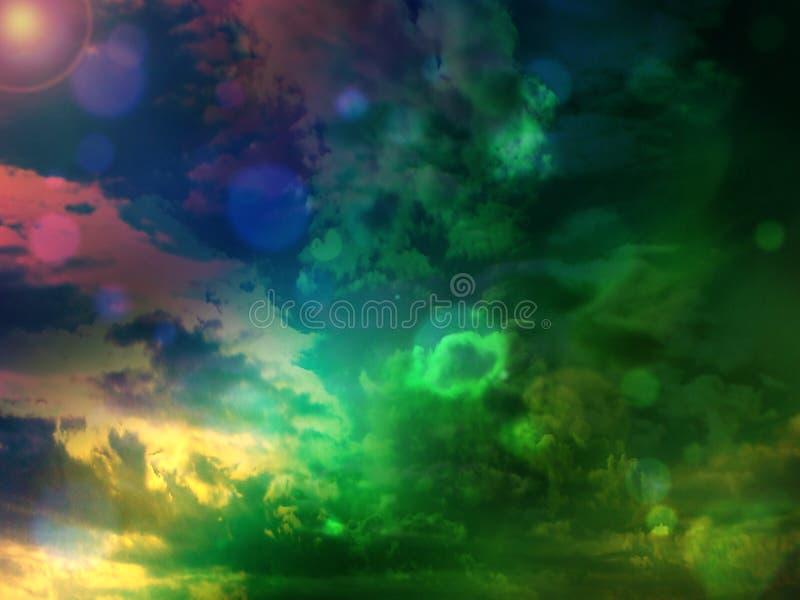 在蓝色,绿色和桃红色颜色的夏季的天空背景 免版税库存图片