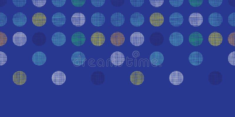 在蓝色水平的无缝的样式背景的抽象纺织品圆点 向量例证