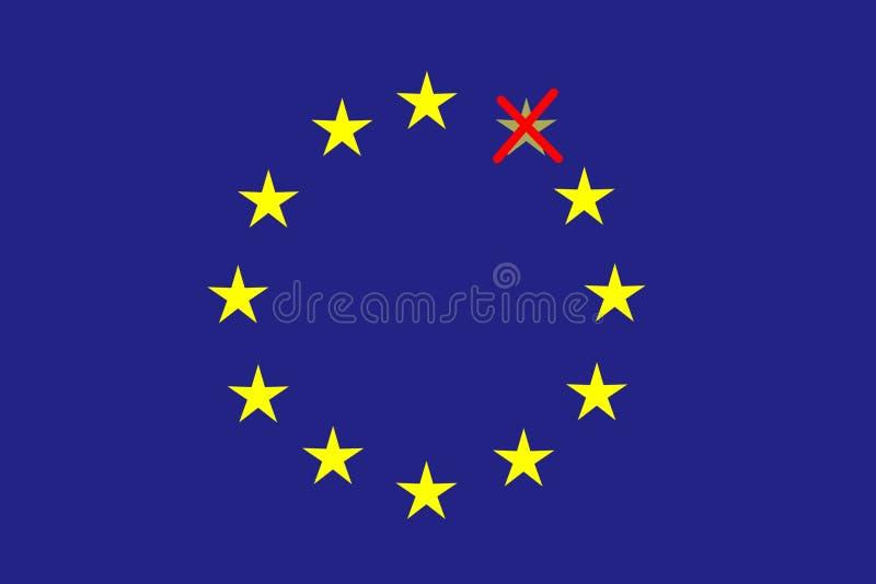 在蓝色水平的长方形形成了十二个黄色星圈子其中之一是注销的红色 皇族释放例证