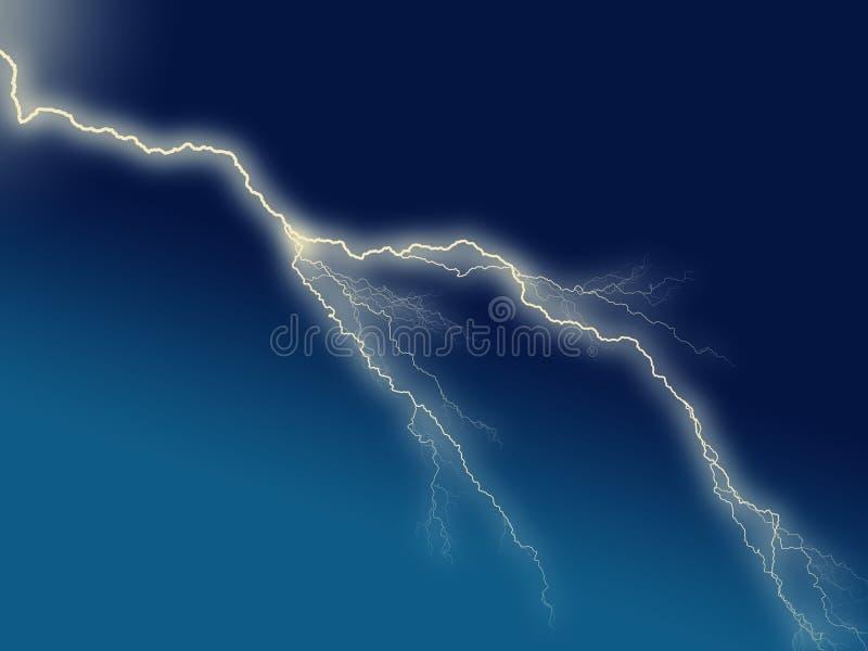 在蓝色黑暗的天空的电闪电 皇族释放例证