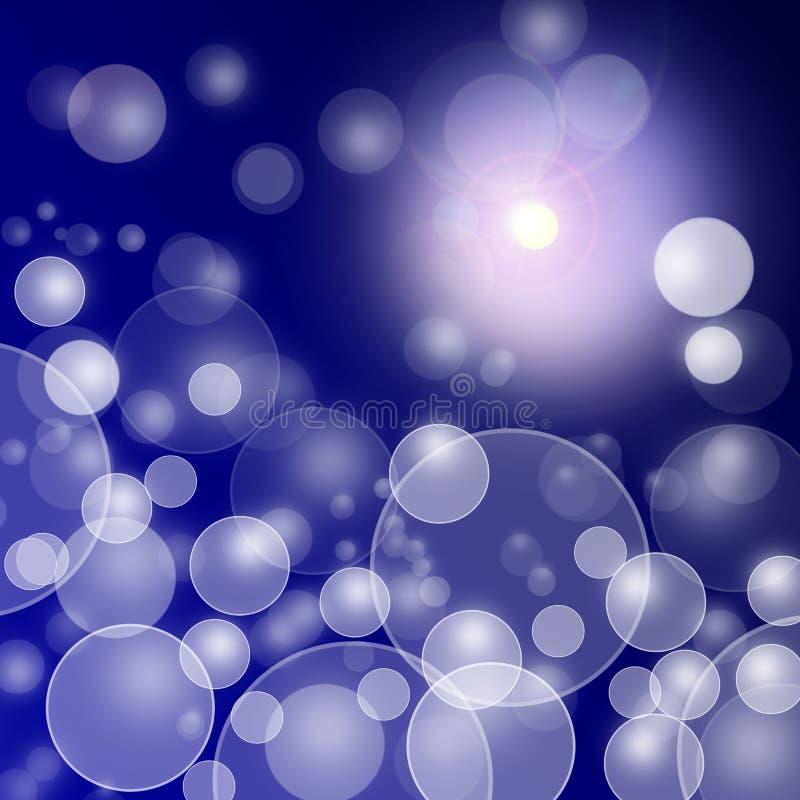 在蓝色黑暗的背景的抽象模糊的光 皇族释放例证