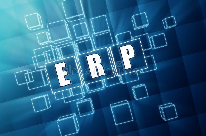 在蓝色玻璃立方体的ERP -企业概念 免版税库存图片