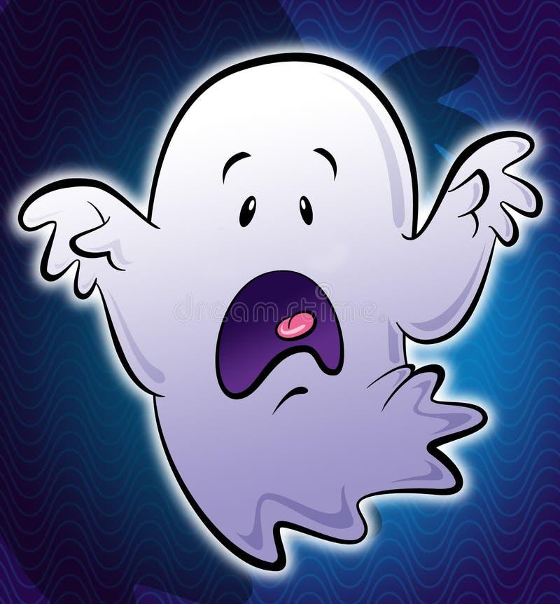 在蓝色backg的逗人喜爱的矮小的白色可怕动画片鬼魂例证 库存例证