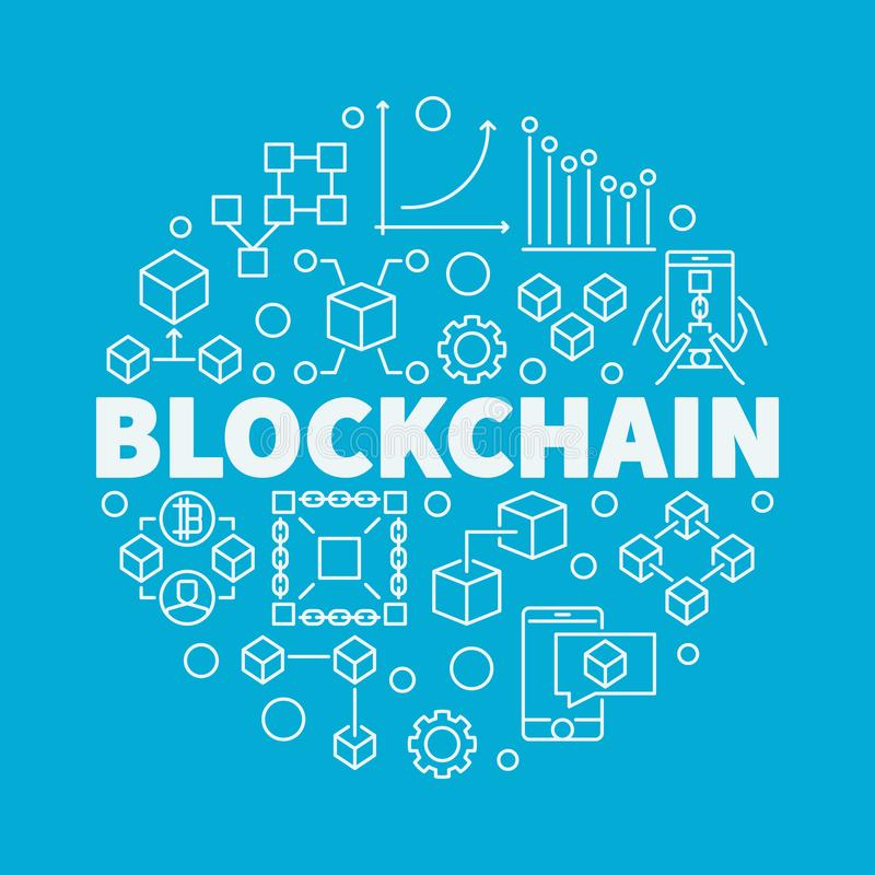 在蓝色backgro的Blockchain技术线性传染媒介例证 向量例证