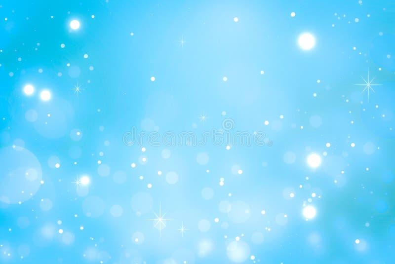 在蓝色background.abstract纹理的光 假日新年摘要闪烁与眨眼睛星和火花的Defocused背景 库存例证
