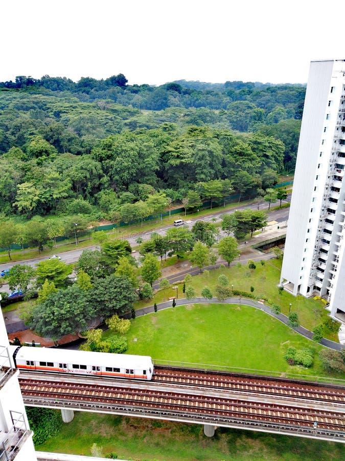 在蔡厝港的MRT火车 免版税库存照片