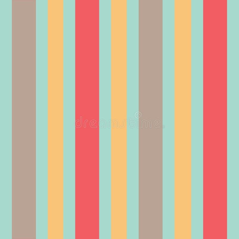 在薄荷的绿色背景无缝的样式的米黄黄色和珊瑚条纹 向量例证