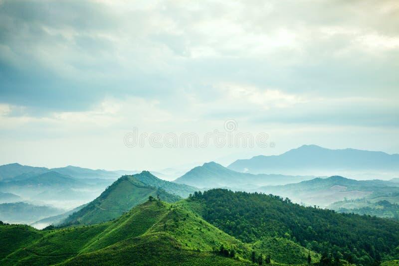在薄雾下的山 库存照片