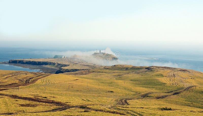 在薄雾的海角Crillon 免版税库存图片