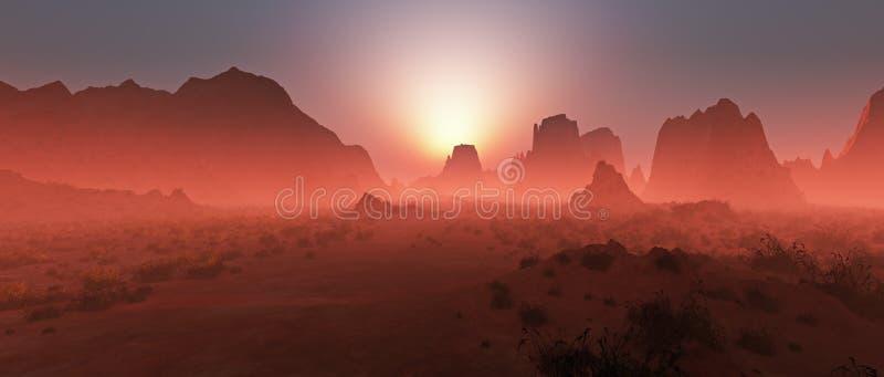 在薄雾的红色岩石沙漠风景在日落 皇族释放例证