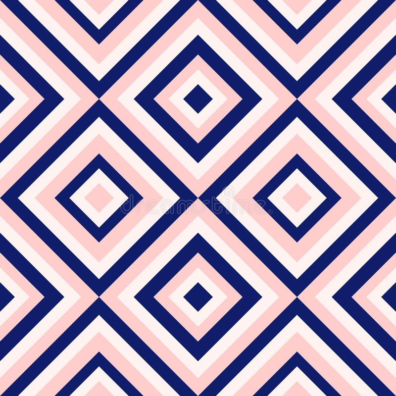 在藏青色的抽象几何和脸红桃红色,金刚石形状时尚样式 皇族释放例证