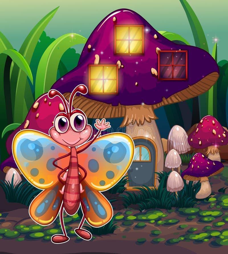 在蘑菇房子前面的一只蝴蝶 库存例证