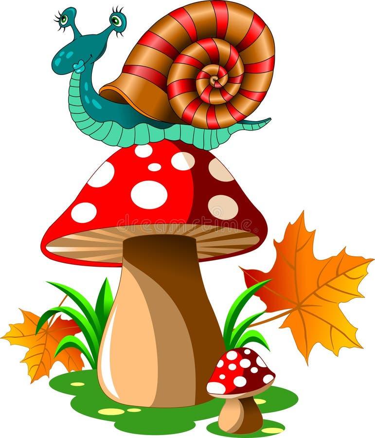 在蘑菇的蜗牛 皇族释放例证