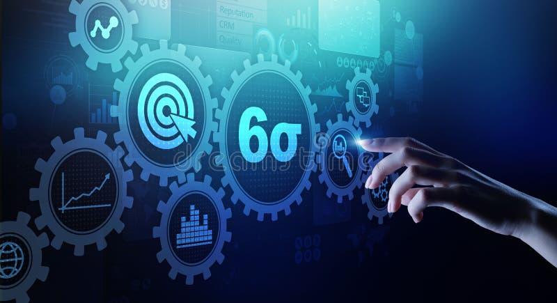 在虚屏上的六个斯格码DMAIC工业生产方法优化概念 皇族释放例证