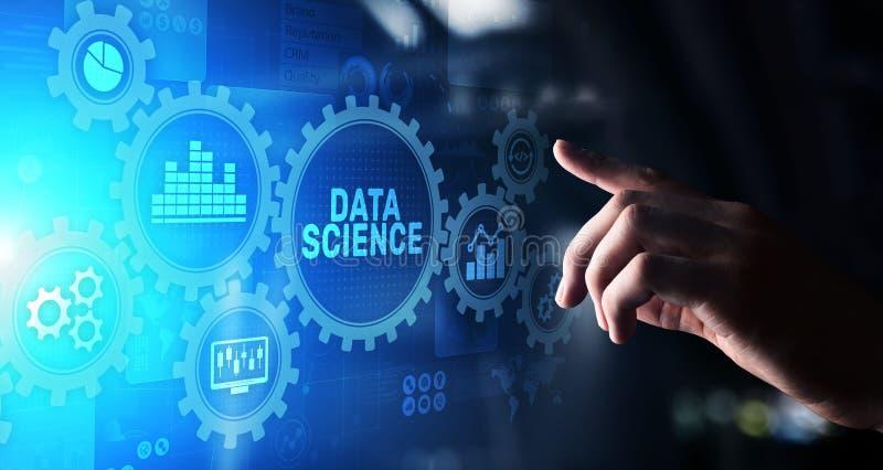 在虚屏上的大数据科学分析企业技术概念 皇族释放例证