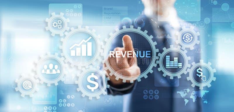 在虚屏上的收支增量销售财政成长企业概念 库存图片
