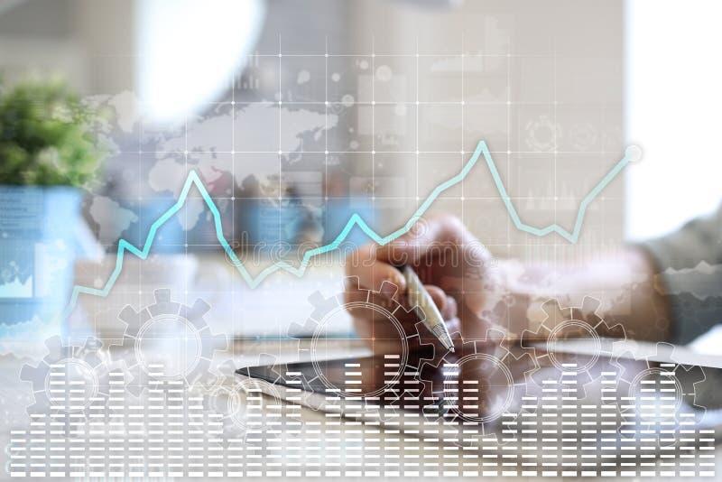 在虚屏上的数据分析图表 企业财务和技术概念 向量例证