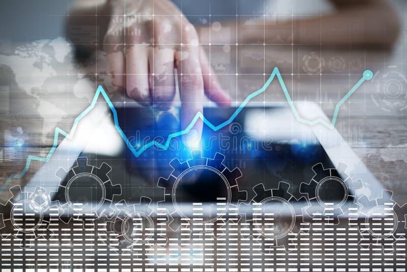 在虚屏上的数据分析图表 企业财务和技术概念 皇族释放例证