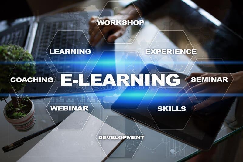 在虚屏上的电子教学 概念教育互联网关键董事会了解字 向量例证
