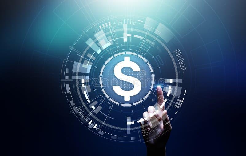 在虚屏上的美元象 货币外汇换和金融市场概念 数字银行业务和成长 免版税库存图片