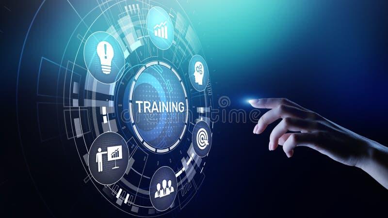 在虚屏上的训练网上教育Webinar个人发展刺激电子教学企业概念 皇族释放例证