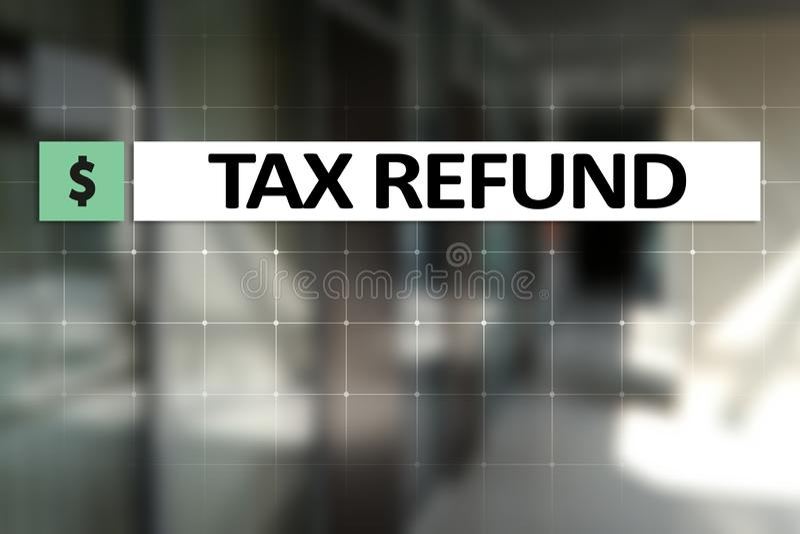 在虚屏上的退还税金文本 企业和财务概念 库存例证